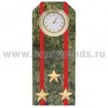 Часы сувенирные настольные (камень змеевик зеленый) Погон Полковник ВС