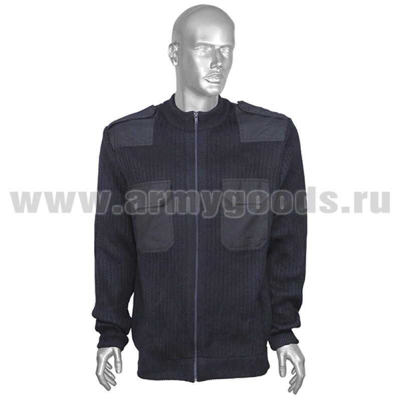 Джемпер (свитер) жакет форменный синий на молнии