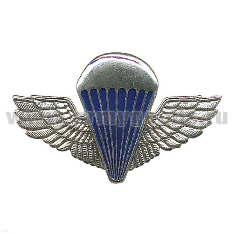 Значок мет. Парашют с прямыми крыльями (бол.) серебр.
