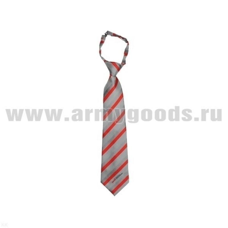 Галстук-регат РЖД (светло-серый с красными и серыми полосками)