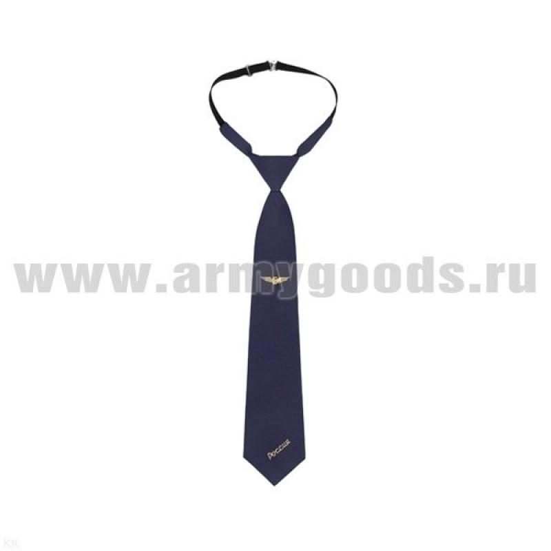 Галстук-регат с вышивкой синий с техзнаком ЖД Беларусь