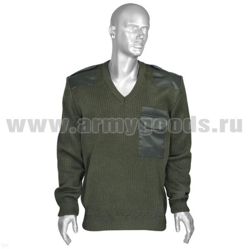 Джемпер (свитер) с накладками оливковый V-образный вырез