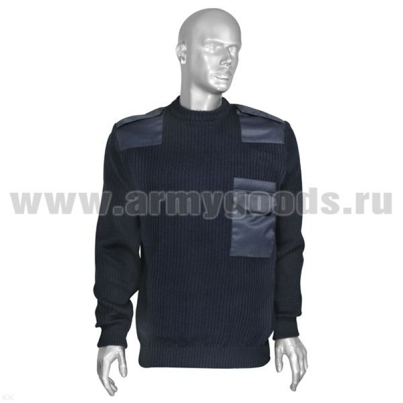 Джемпер (свитер) с накладками синий