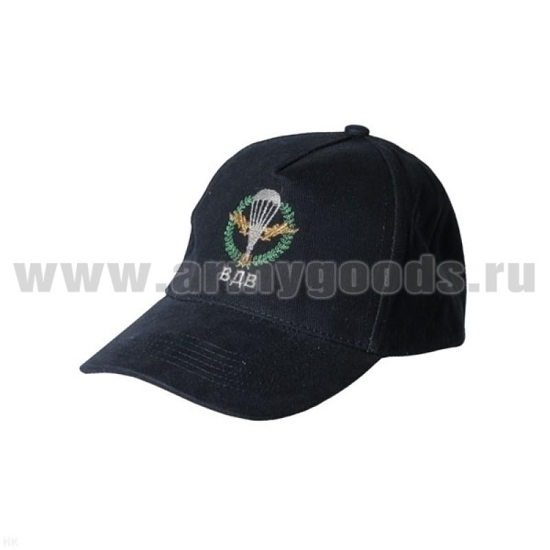 Бейсболка черная вышитая ВДВ (с эмблемой)