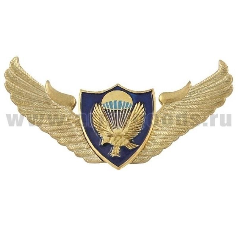 Значок мет. Орел ВДВ с парашютом (крылья со щитом)
