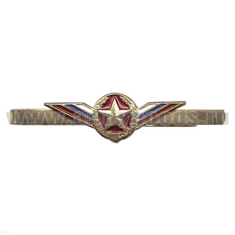 Зажим для галстука мет. цв. с лентой триколор Сухопутные войска