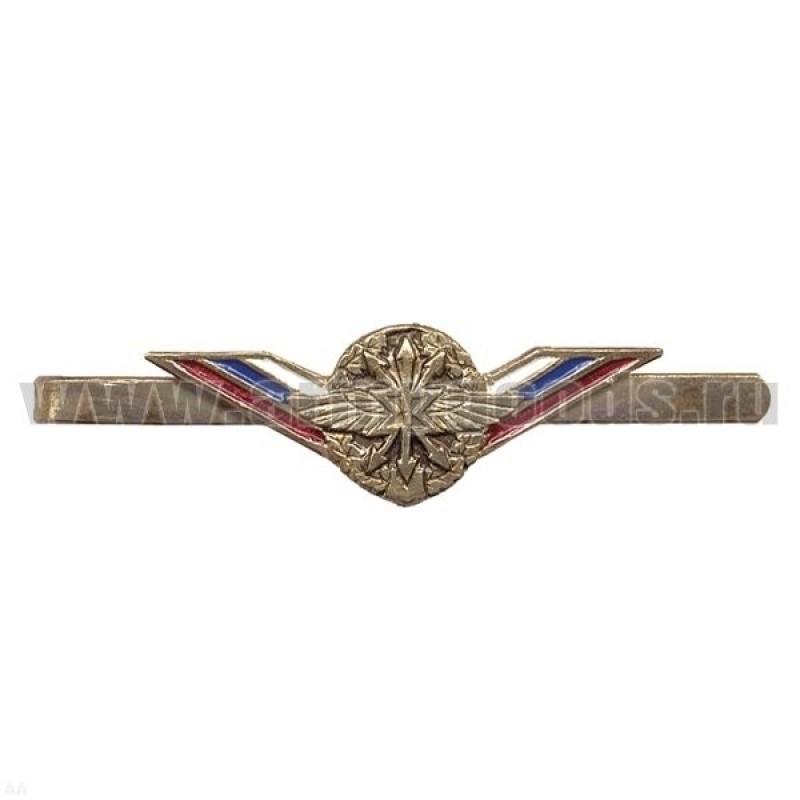 Зажим для галстука мет. цв. с лентой триколор Войска связи
